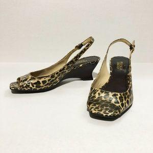 Franco Sarto leopard sling back peep toe wedge